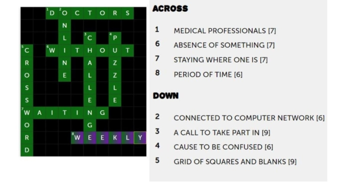 "PATIENT EDUCATION: THE ""2020 WEEKLY CROSSWORD PUZZLE CHALLENGE"" (SEPT 8)"