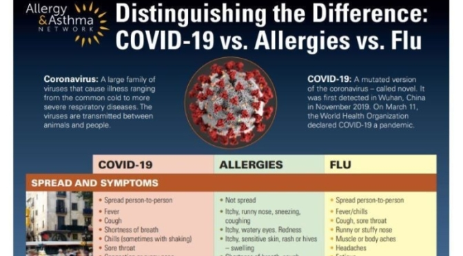 INFOGRAPHIC: 'DIFFERENCES BETWEEN COVID-19, THE FLU AND ALLERGIES (2020)
